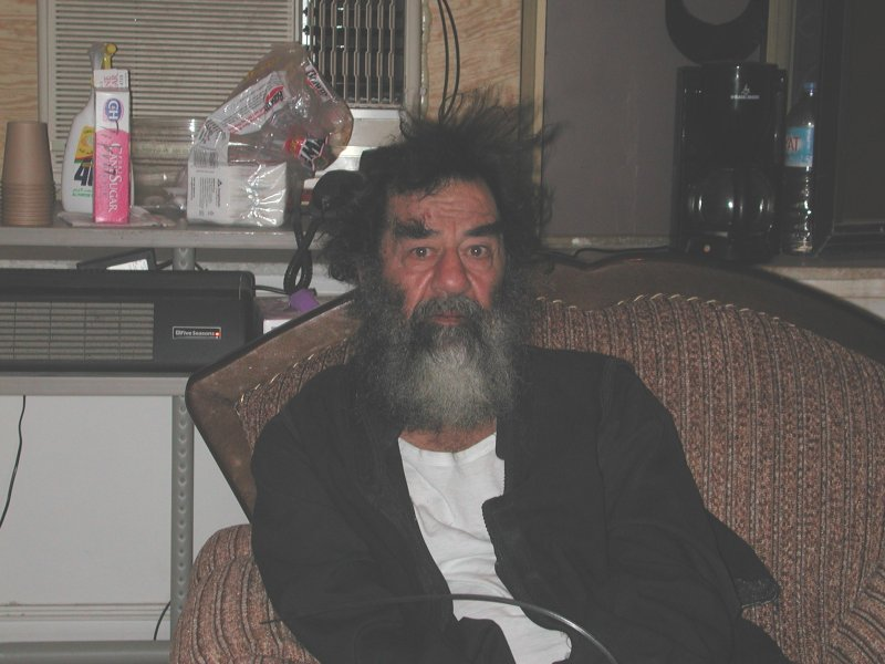 Saddam Hussein the day of his capture