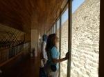 shaimaa and becca looking up at the great pyramid