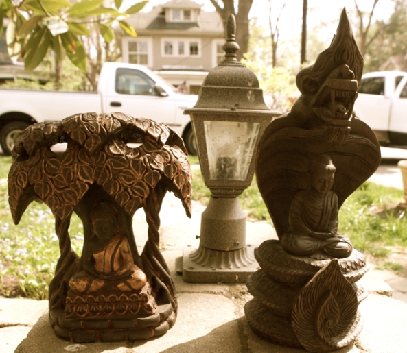 My favorite Buddha Statues ~ Buddha under the Bodhi Tree (L) and being protected by Naga (R)