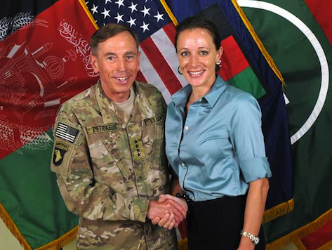 David Petraeus in Afghanistan with his lover and biographer, Paula Broadwell