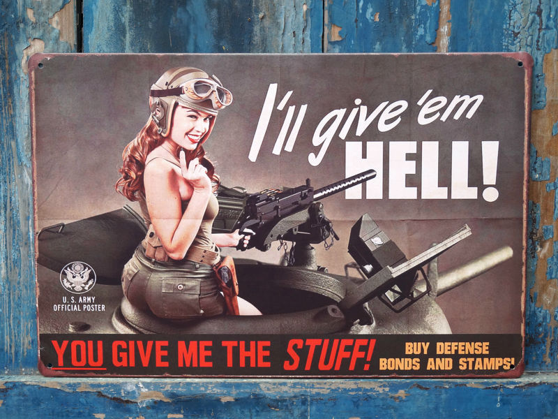 I-LL-GIVE-EM-HELL-Metal-Tin-Signs-Rusted-Poster-Home-Pub-Bar-Wall-Decor